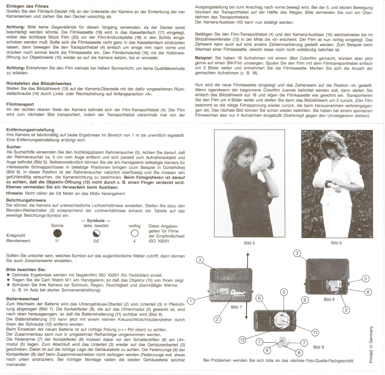 Chadt Cam Watch M1 Instructionse