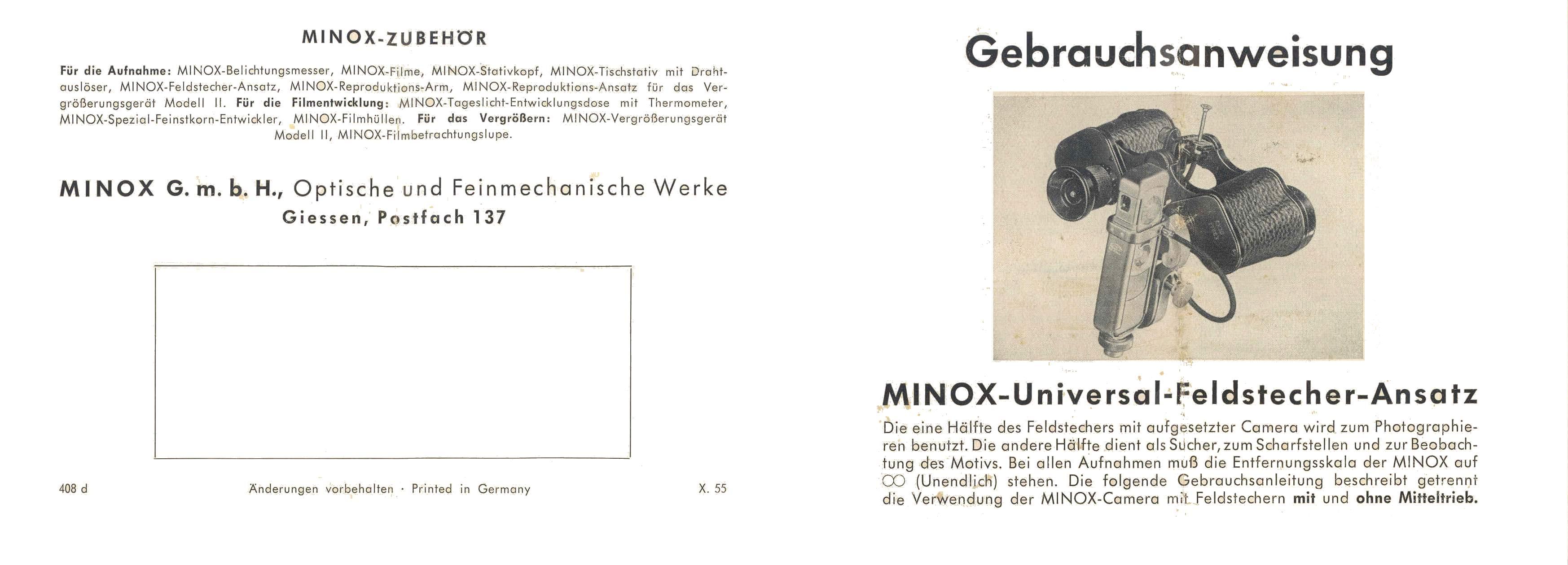 Minox Binocular Attachment Instructions 56/07e, 50/10d, 64/04d, 69 ...