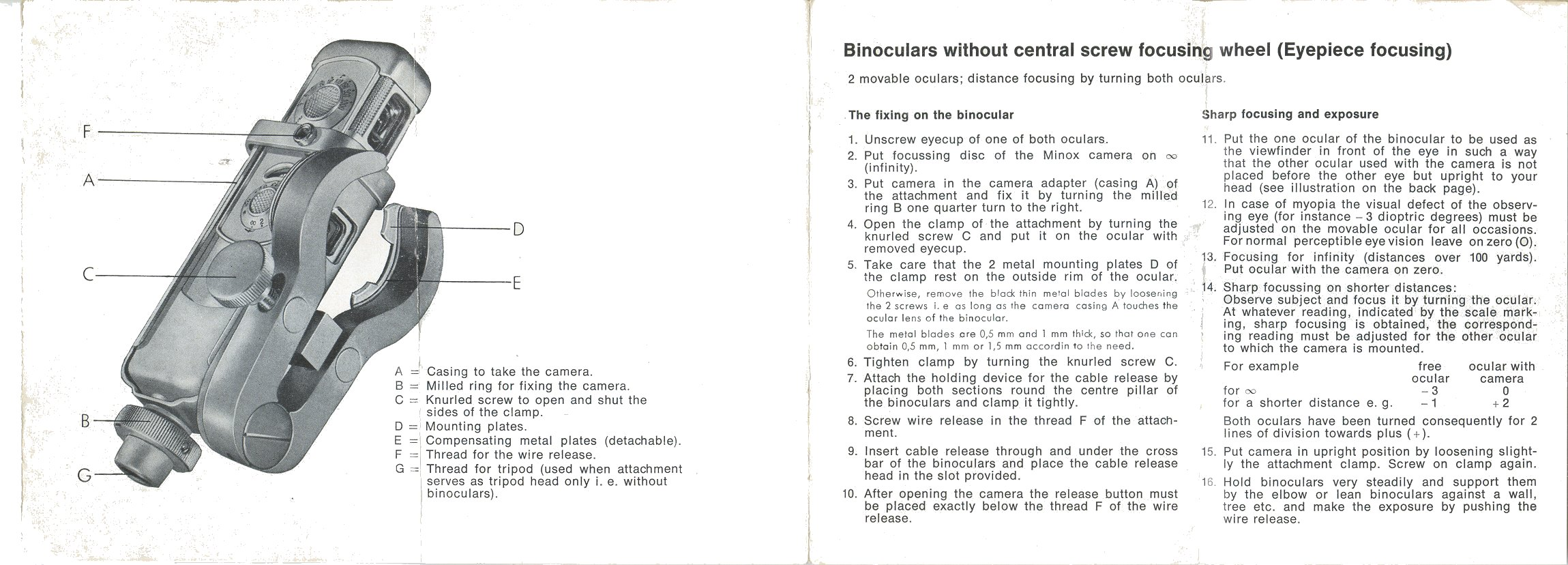 Minox binocular on manuals